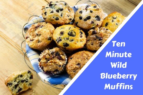 Ten Minute Wild Blueberry Muffins