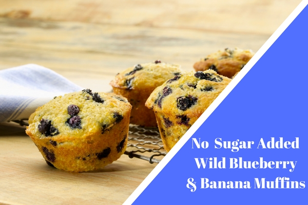 No Sugar Added Wild Blueberry Banana Muffins