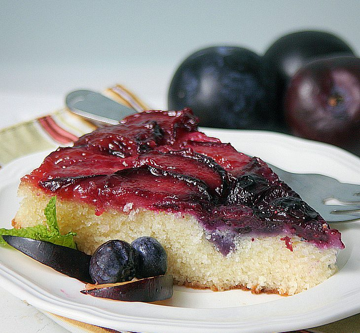 Plum Wild Blueberry Upside Down Cake